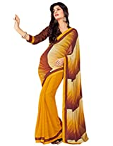 Riti Riwaz Yellow & Brown Georgette Lace Border Casual Saree SDG5015A