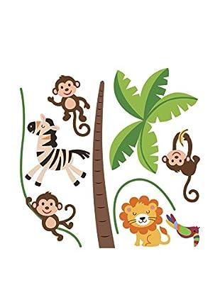 Ambiance Sticker Wandtattoo Happy Animals Of The Jungle