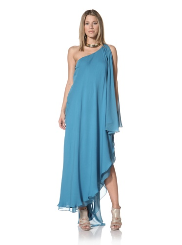 Halston Heritage Women's One-Shoulder Cascade Gown (Teal)