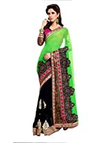 Kalista Faux Georgette Saree in Black Green Colour for Party Wear