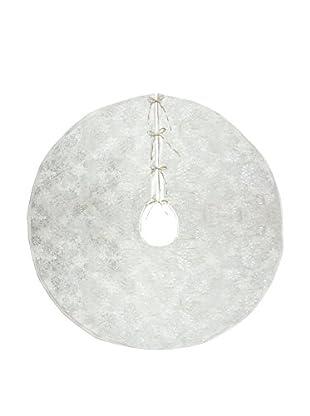 Melrose International Jacquard Snowflake Christmas Tree Skirt, Cream