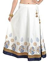 9Rasa Womens Cotton Skirts -White -Free Size