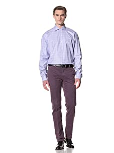 Domenico Vacca Men's Plaid Button-Up Shirt (White/Blue Check)