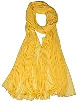 VISION INDIA CLOTHING Women's Cotton Dupatta (VIC045_Yellow_Free Size)