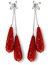 Aastha Jain Red Resin Carved Sterling Silver Earring For Women