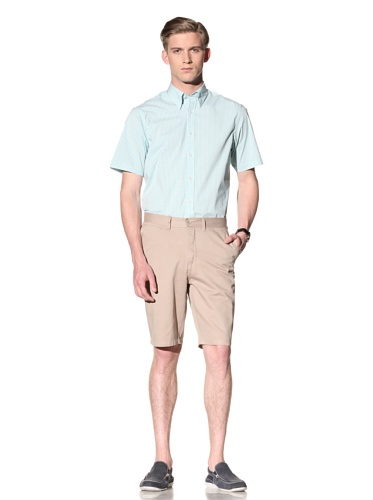 Report Collection Men's Gingham Button-Front Shirt (Turquoise)