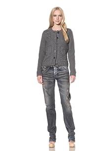 D&G by Dolce & Gabbana Women's Mixed Knit Cardigan (Grey)