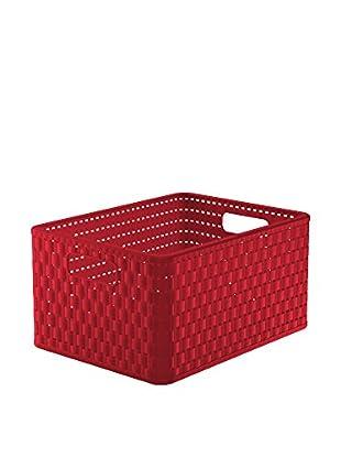 Rotho Set Caja de Almacenamiento 3 Uds. Country Rattan Stil A4 18 L Rojo