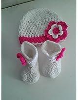 Handmade Baby Booties White And Fuschia Cap