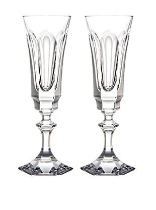 Rogaška Set of 2 Royal Champagne Flutes, Clear