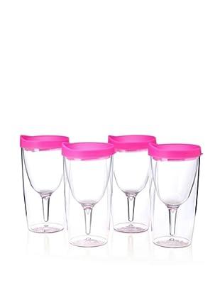 AdNArt Set of 4 Vino 2 Go Cups (Pink)