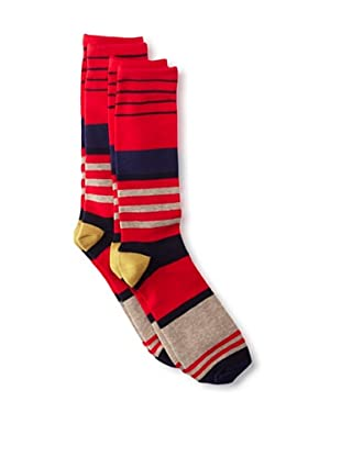 Florsheim by Duckie Brown Men's Variegated Striped Socks, 2-pack (Red)