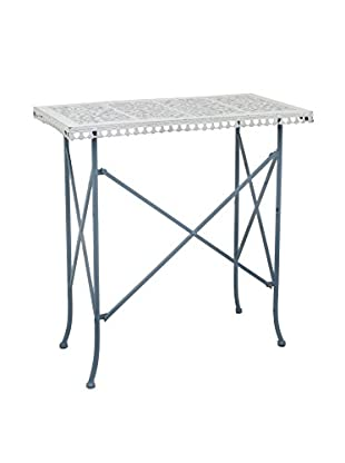 Three Hands Metal Accent Table, Light Blue/Antique White