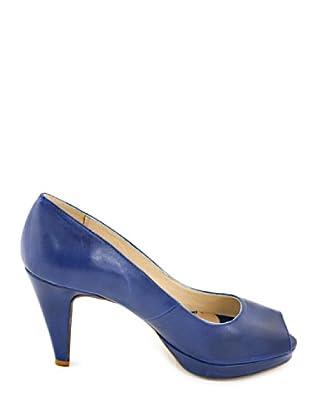 Eye Shoes Zapatos Peep Toe Lisos (Azul)
