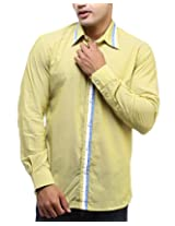 See Designs Men Buttoned Shirt (SDMDWSS14SH110_XXL, YELLOW, XXL)