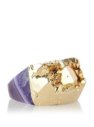 Dara Ettinger Jill Rock Purple Multi Agate Geode Ring