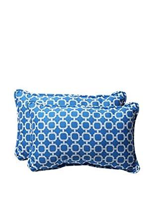 Pillow Perfect Set of 2 Indoor/Outdoor Hockley Lumbar Pillows, Blue