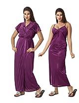 KuuKee Women's Satin Wine colored nightwear (10037_Wine_L)