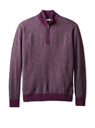 Alex Cannon Men's Calvary Twill Quarter Zip Sweater (Purple)