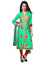 Suchi Fashion Turquoise & Red Embroidered Cotton Semi Stitched Salwar Suit