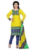 Divisha Fashion Yellow and Blue Cotton Printed Churiddar Suit with Dupatta