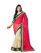 Dlines red & White saree