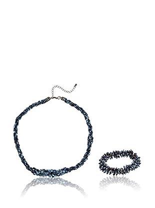 Cortefiel Conjunto de collar y pulsera Set Beads Piedra Cuadrada