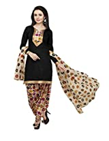 Vaamsi Women's A- Line Salwar Suit Dress Material (P-202_Black_Free Size)