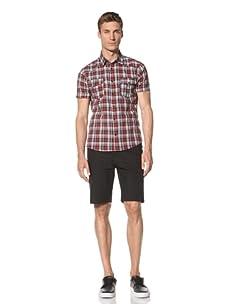 Dorsia Men's Jordan Short Sleeve Shirt (Red/Grey Plaid)