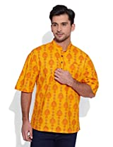 Very Me Men's Cotton Yellow Short Kurta