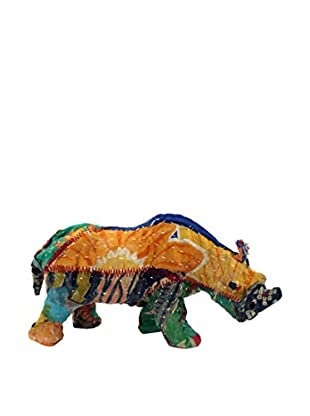 Vintage Sari Fabric Paper Mache Rhino, Multi