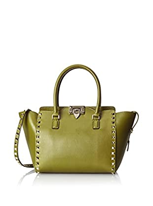 VALENTINO Women's Rockstud Double Handle Bag, Olive Grey