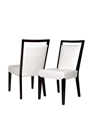 Star International Set of 2 Enzo Dining Chairs, White/Dark Walnut