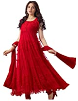 Vaamsi Womens Brasso & Net A-Line Unstitched Dress Material (Vk1001 _Red)