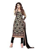 Suchi Fashion Embroidered Black & Beige Cotton Dress Material