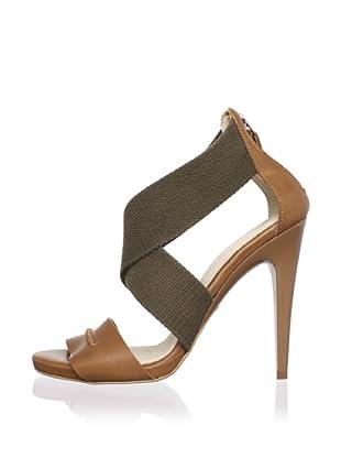 C'N'C CoSTUME NATIONAL Women's Crisscross Stiletto Sandal (Tan/Brown)