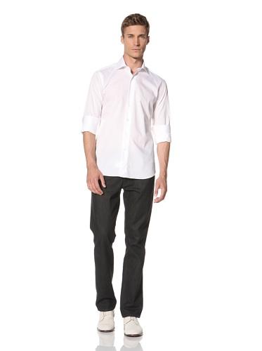Orian Men's High Collar Spread Dress Shirt (White)
