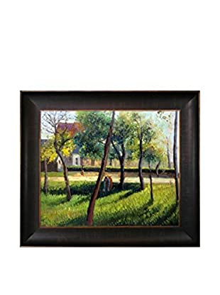 Camille Pissarro's An Enclosure in Eragny Framed Hand Painted Oil on Canvas, Multi, 26.5