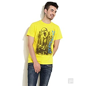 DJ King Mong Printed Tee-Yellow-L