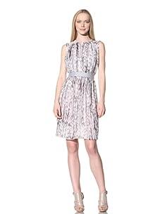 Adrienne Vittadini Women's Printed Chiffon Shirred Dress (Chrome Multi)