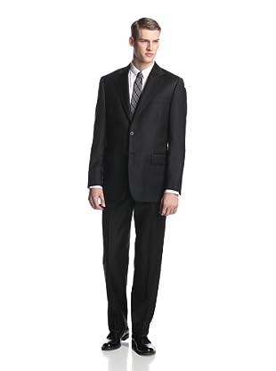 Joseph Abboud Men's Solid Suit with Flat-Front Pant (Black)