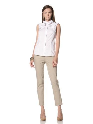 Anne Klein Collection Women's Sleeveless Draped Yoke Shirt (Bone White)