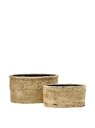 Set of 2 Sienna Fleur de Lis Containers