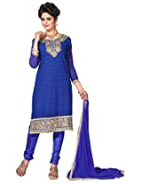 Manvaa Blue Embroidered Suit With Chanderi Cotton Fabric