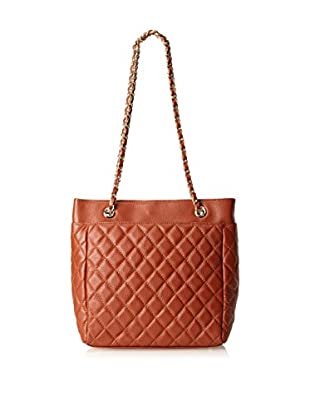 Zenith Women's Quilted Tote with Chain Strap, Cognac