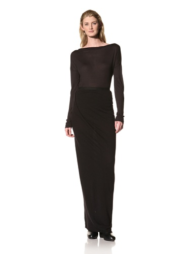 RICK OWENS Women's Long Skirt with Side Pleat (Black)