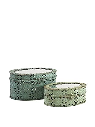 Set of 2 Grant Metal Boxes, Green