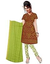 Kala Sanskruti Women's Cotton Satin Bandhani Brown Dress Material