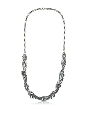 Chloe & Theodora Grey Simulated Pearl Gunmetal Curb Chain Necklace