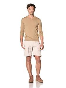 Pringle of Scotland Men's V-Neck Merino Solid Long Sleeve Sweater (Camel)